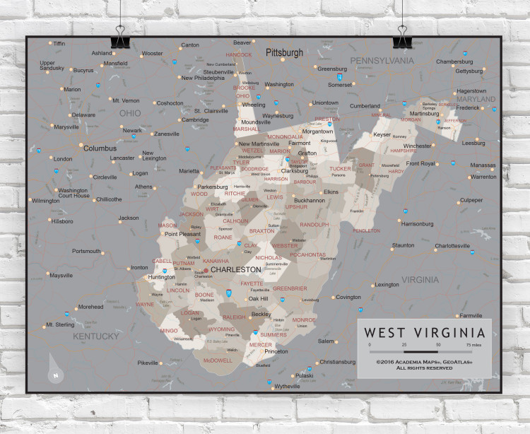 West Virginia Executive State Wall Map