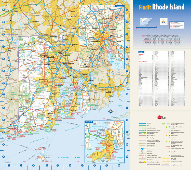 Rhode Island Reference Wall Map