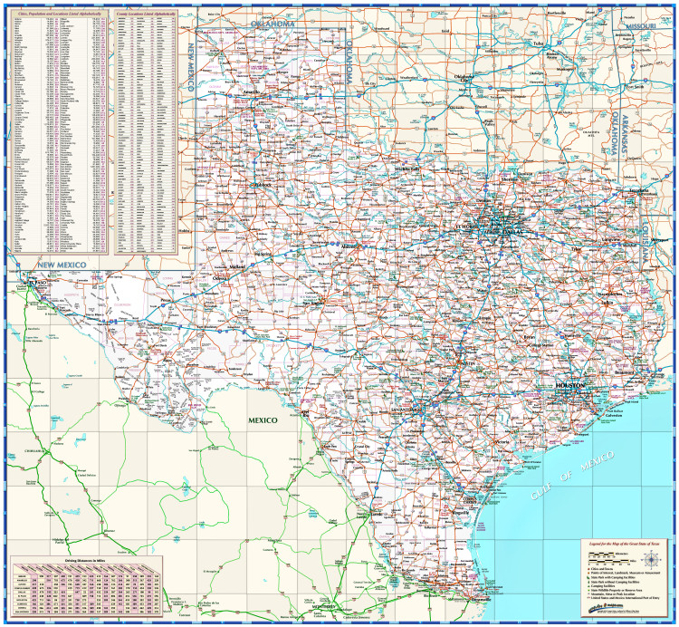 Texas Roadways State Map from Compart