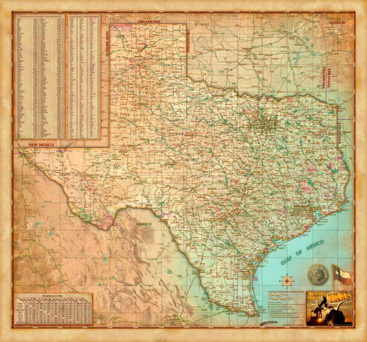 Texas Antique Style Map from Compart