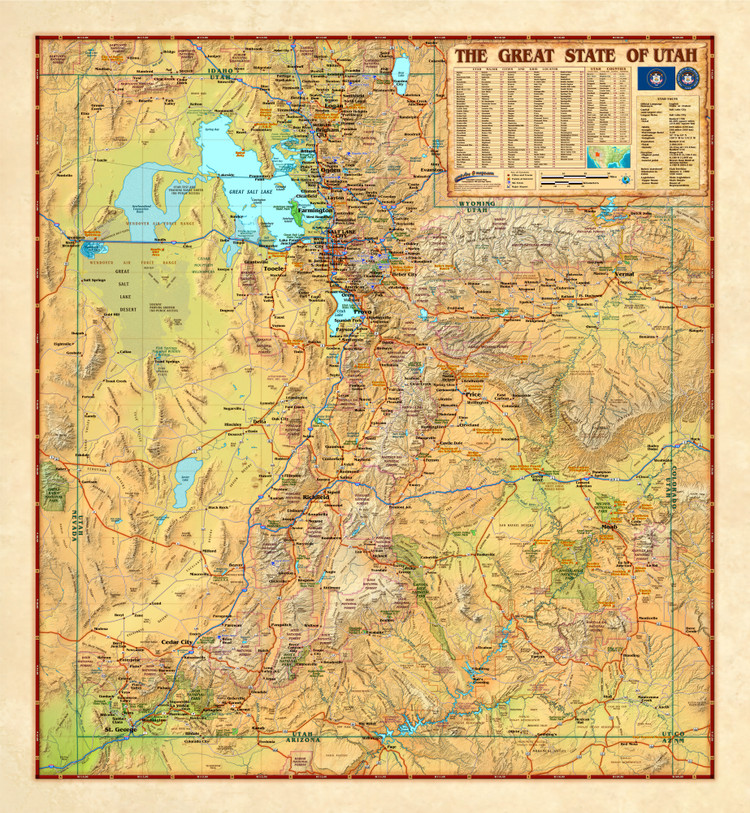 Utah Antique Style Wall Map from Compart