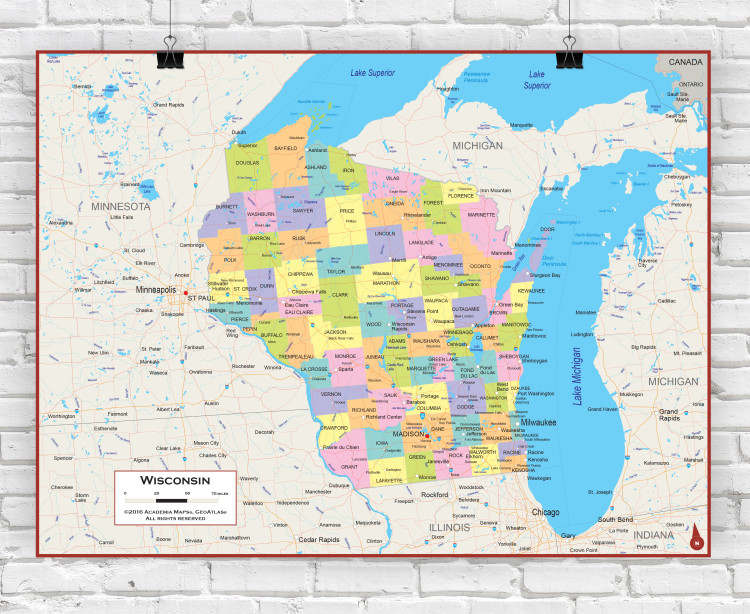 Wisconsin Political State Wall Map