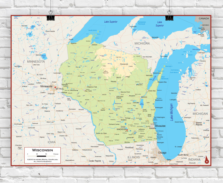Wisconsin Physical State Wall Map