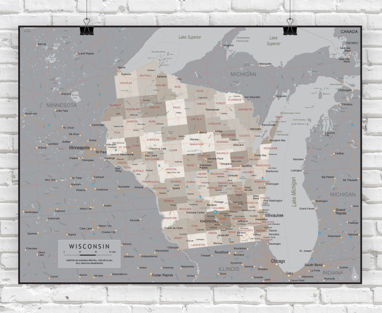 Wisconsin Executive State Wall Map