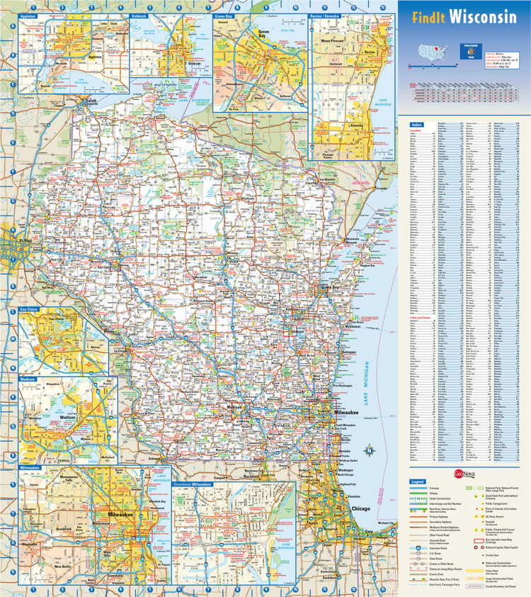 Wisconsin State Reference Map from GeoNova