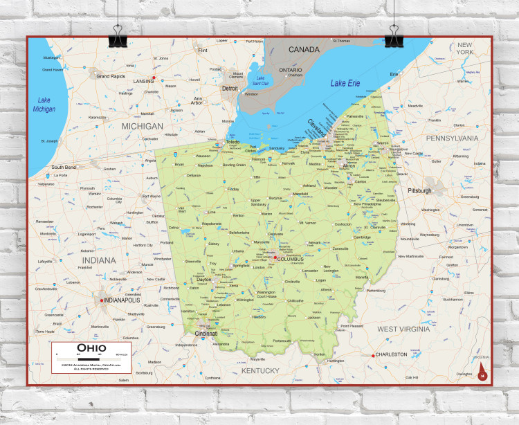 Ohio Physical State Wall Map