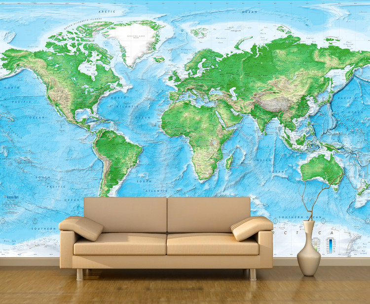 Detailed World Physical Map Mural - Peel & Stick Wallpaper