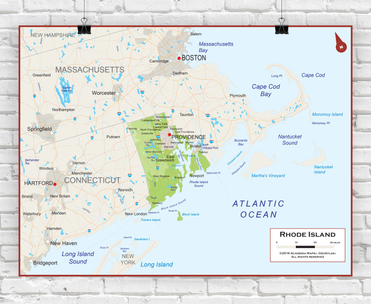 Rhode Island Physical State Wall Map