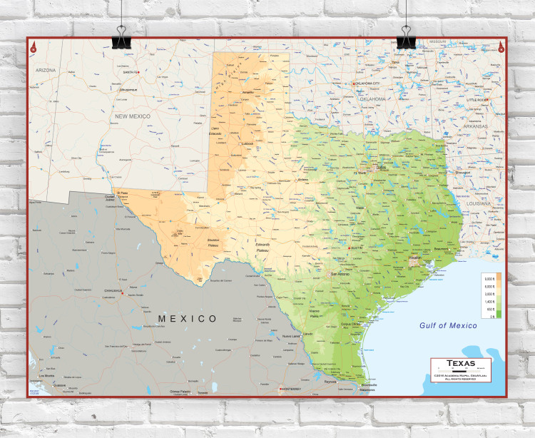 Texas Physical State Wall Map
