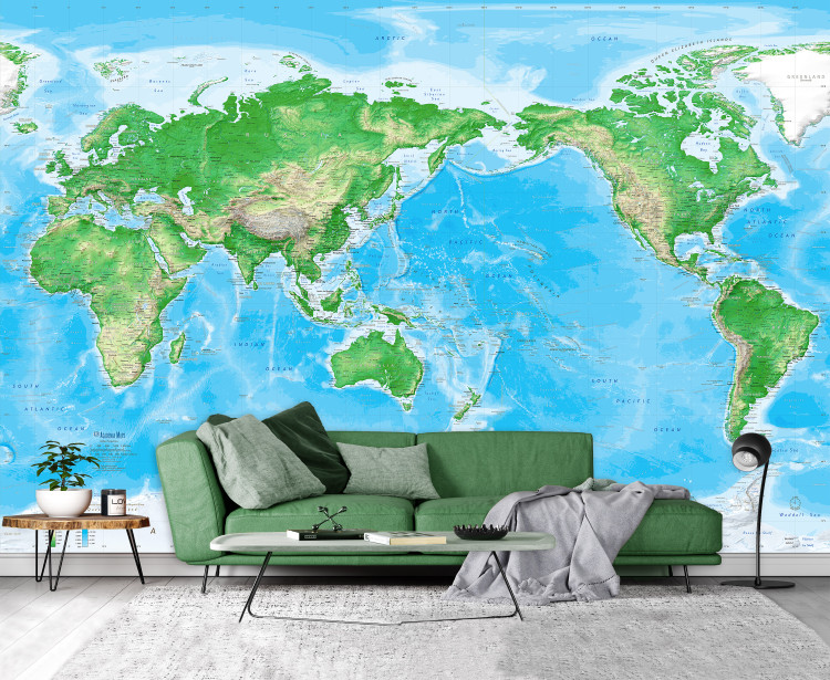 Detailed World Physical Map Mural - Pacific Centered at 150° E - Removable Wallpaper
