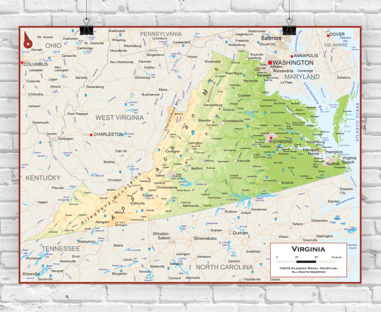 Virginia Physical State Wall Map