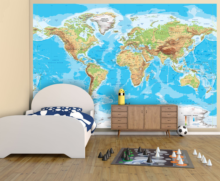 "Physical World Map Wall Mural - Miller Projection - up to 166"" x 112"""