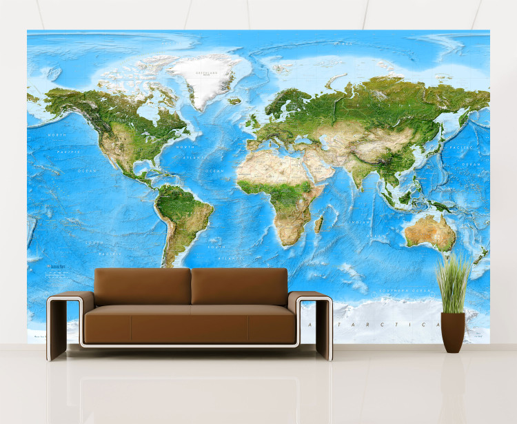 Enhanced Physical World Satellite Image Map Mural - Removable Wallpaper