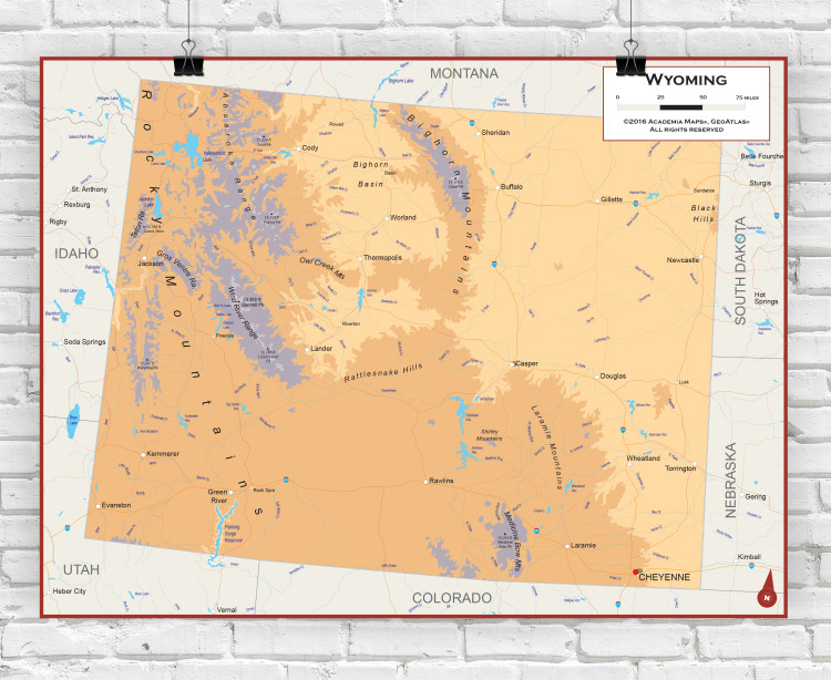 Wyoming Physical State Wall Map