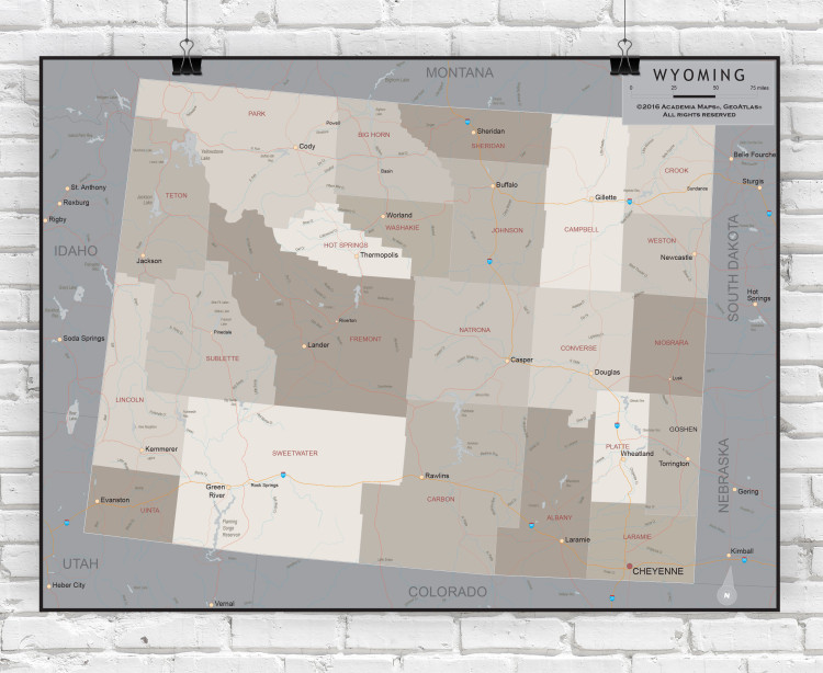 Wyoming Executive State Wall Map