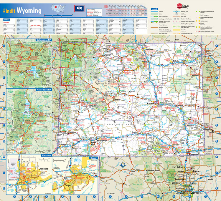 Wyoming Reference Wall Map
