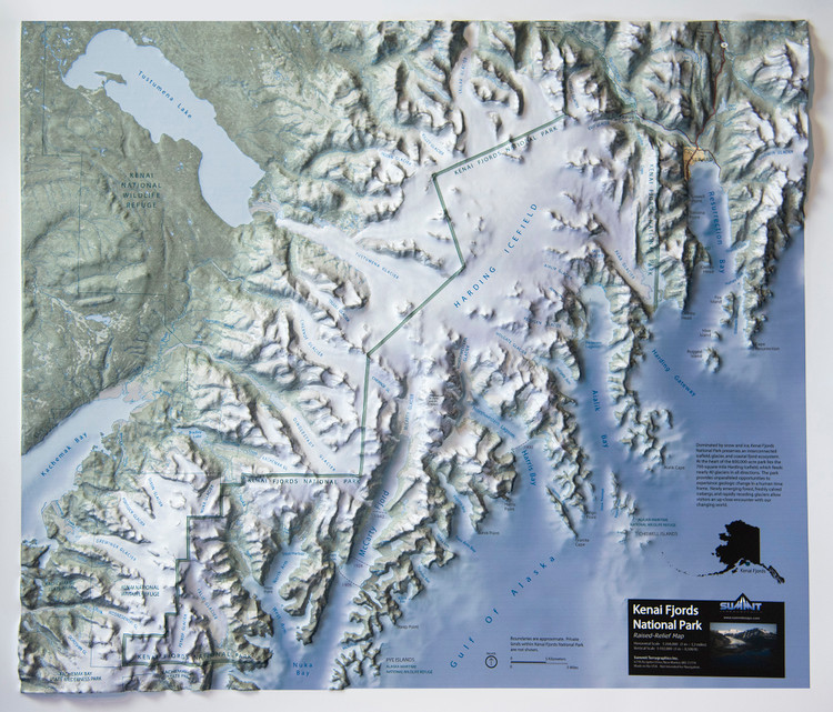 Kanai Fjords National Park Raised Relief Map