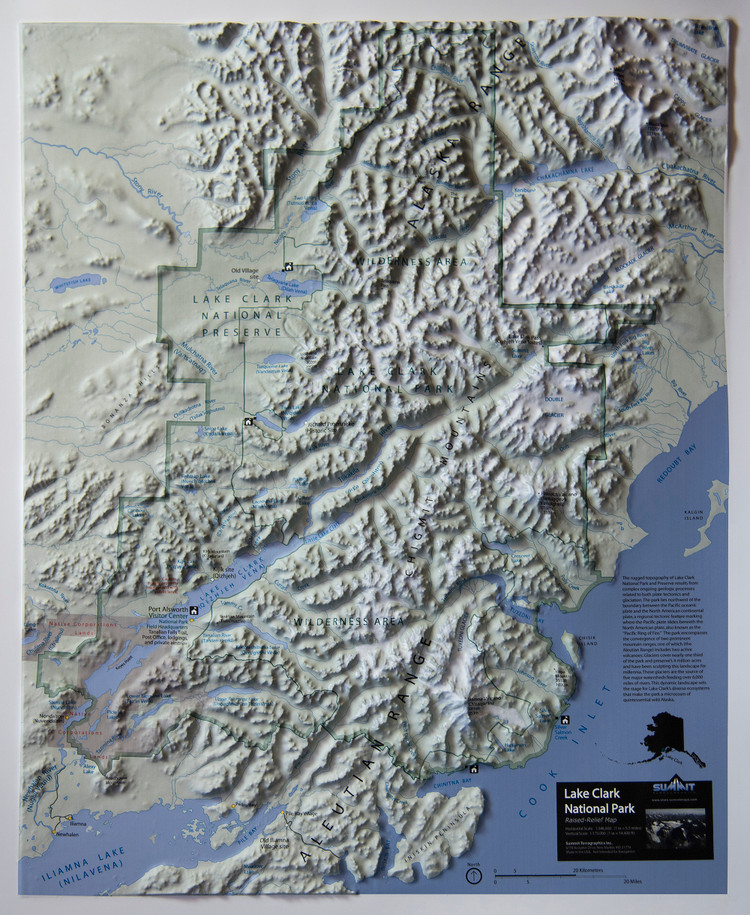 Lake Clark National Park Raised Relief Map