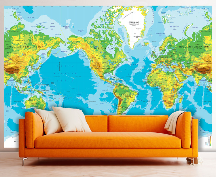 "Physical World Map Wall Mural - Mercator Projection - up to 166"" x 112"""
