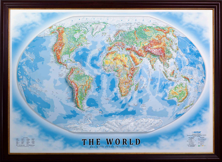 Raised Relief World Map