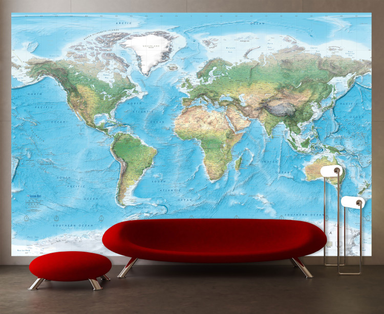 Natural World Physical Map Mural - Removable Wallpaper Map Decal