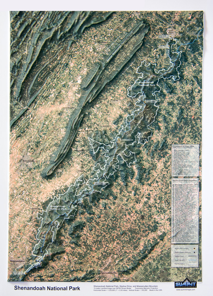 Shenandoah National Park Satellite Image Raised Relief Map