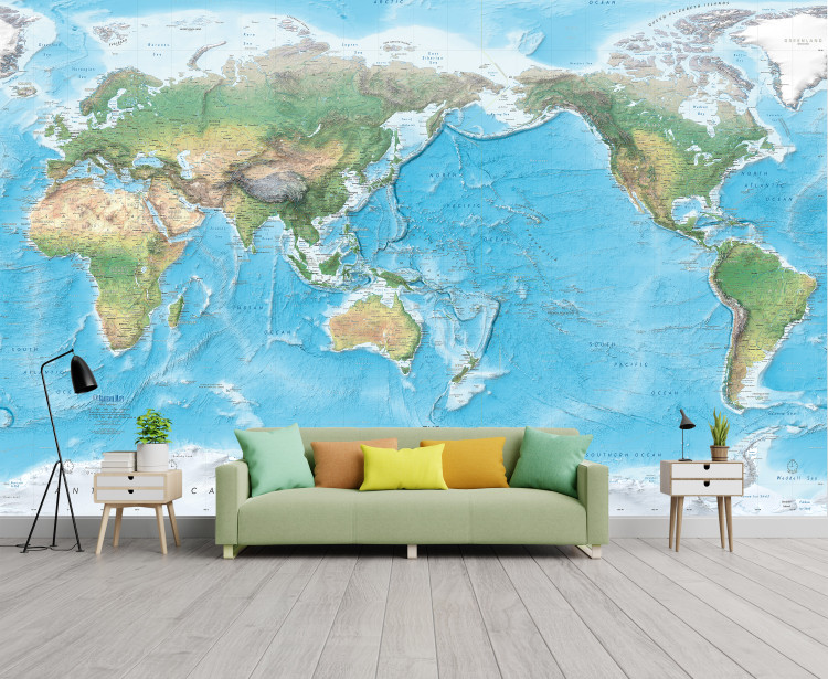 Natural World Physical Map Mural - Pacific Centered - Removable Wallpaper