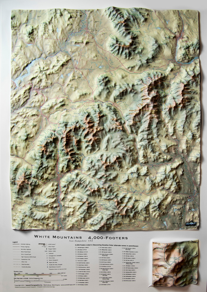 White Mountains Raised Relief Map