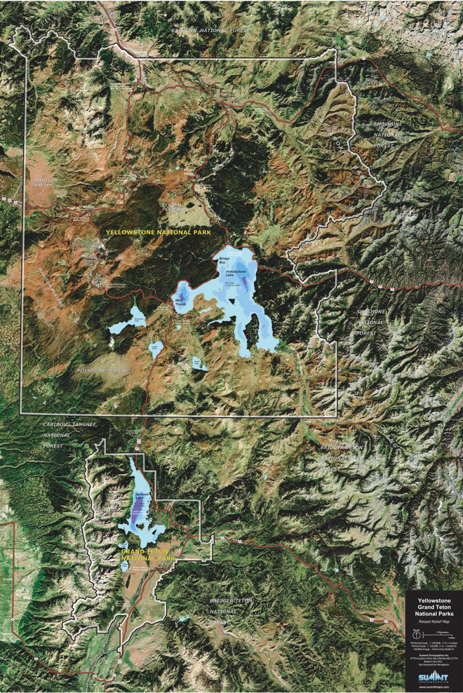 Yellowstone National Park Satellite Image Raised Relief Map