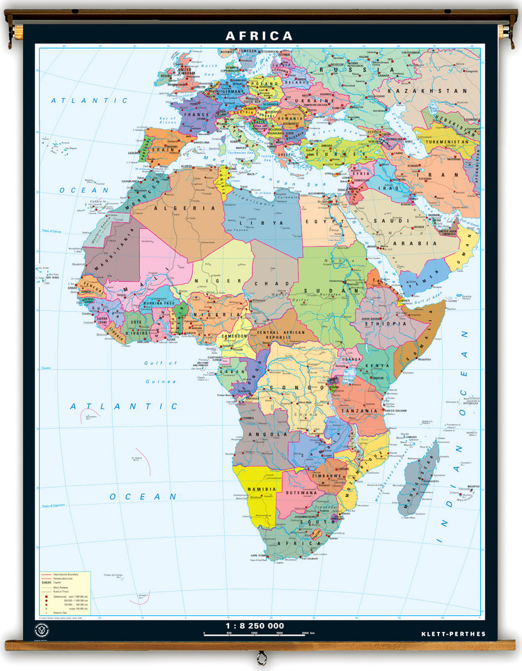 Africa Dual Sided Political & Physical Map on Spring Roller