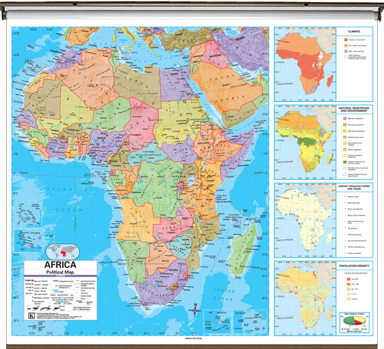 Advanced Africa Political Map on Spring Roller from Kappa Maps