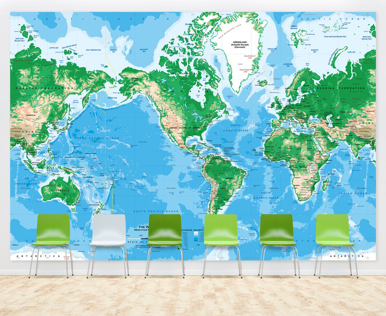 "Mercator World Topographic Map Wall Mural - up to 166"" x 112"""