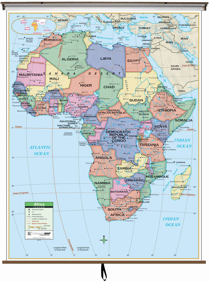 Primary Africa Political Map on Spring Roller from Kappa Maps