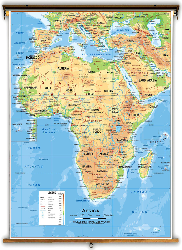 Africa Physical Educational Wall Map from Academia Maps