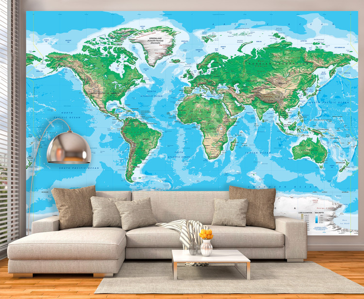 "World Topography Map Wall Mural - up to 166"" x 112"""