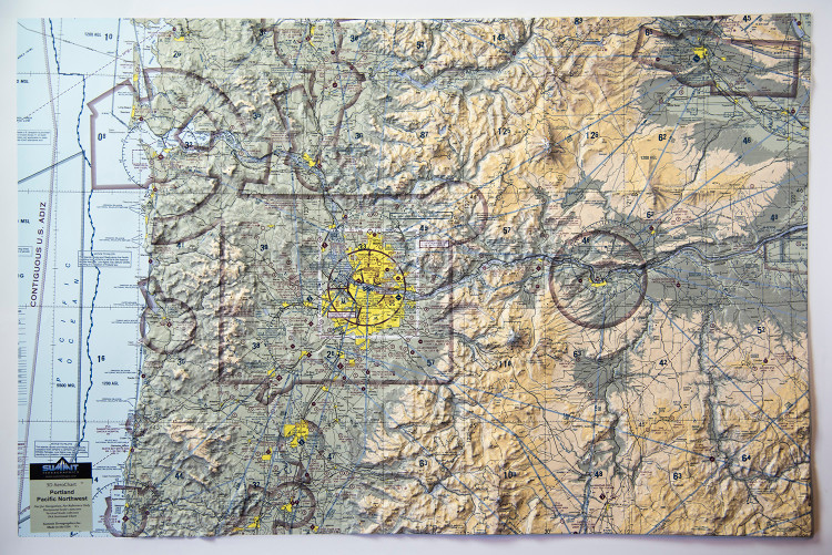 Portland, OR & the Pacific Northwest Aeronautical Raised Relief Map