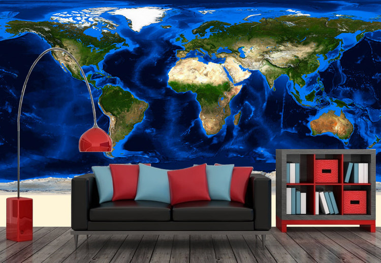 World Topography & Bathymetry Satellite Image Map Wall Mural