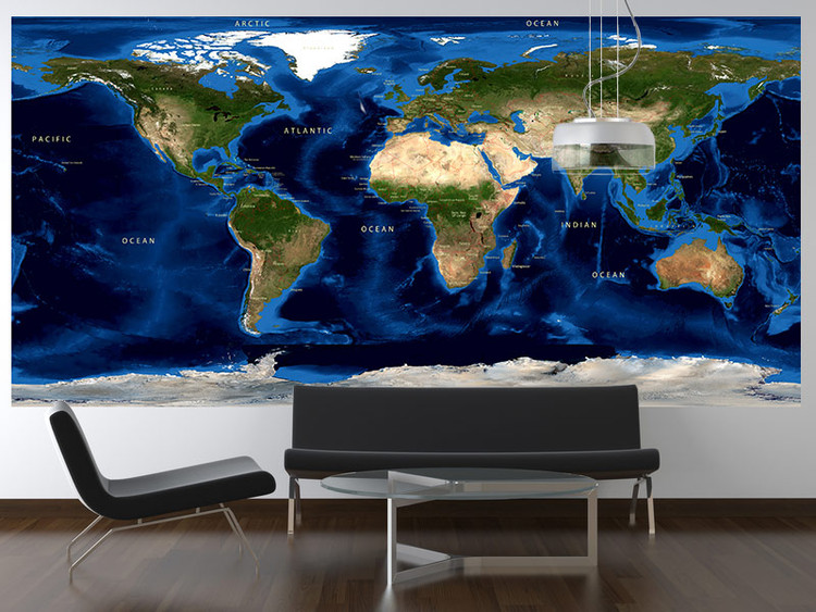 World Topography & Bathymetry Wall Mural w/ Labels and Borders