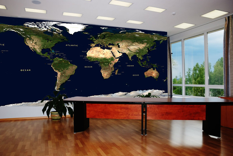 Physical Earth Satellite Image Map Wall Mural w/ Labels & Borders