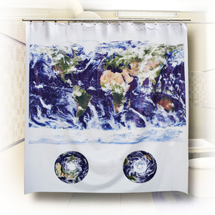 World Cloud Cover Satellite Image Map Shower Curtain