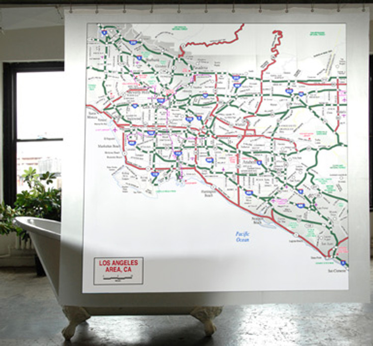 Los Angeles Transit Map Shower Curtain - PEVA