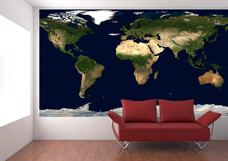 Physical Earth Satellite Image Map Wall Mural