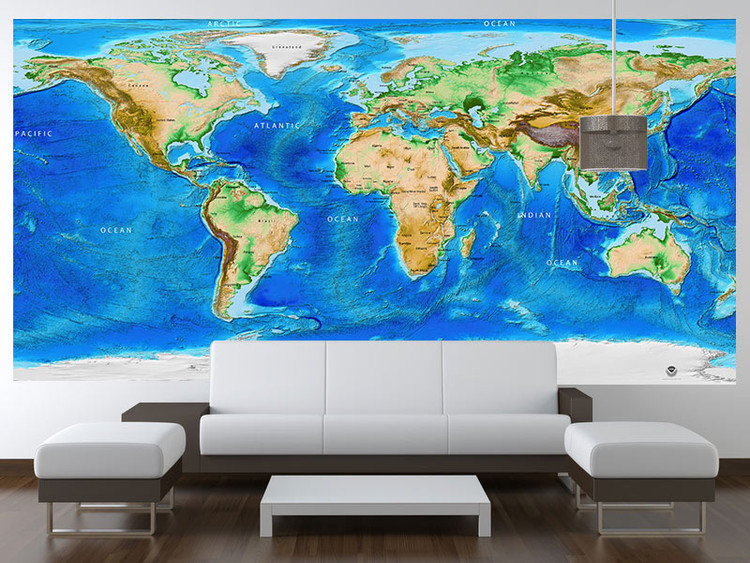 Global Topography & Bathymetry Wall Mural w/ Labels and Borders