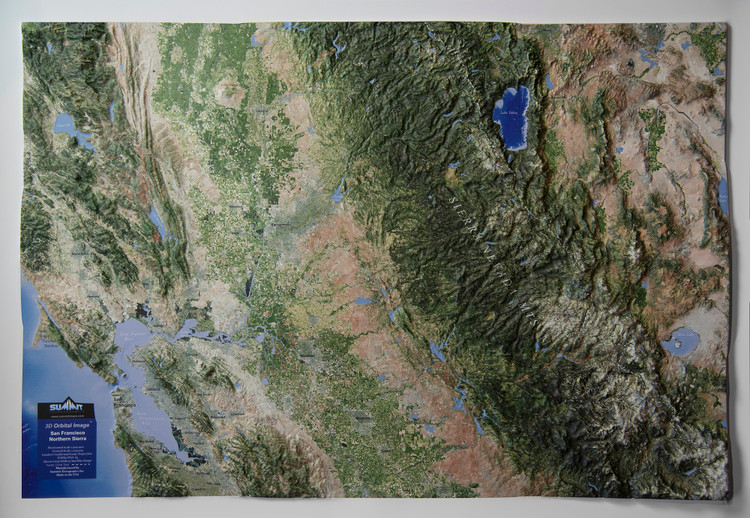 San Francisco & the Northern Sierra Mountains Raised Relief Map