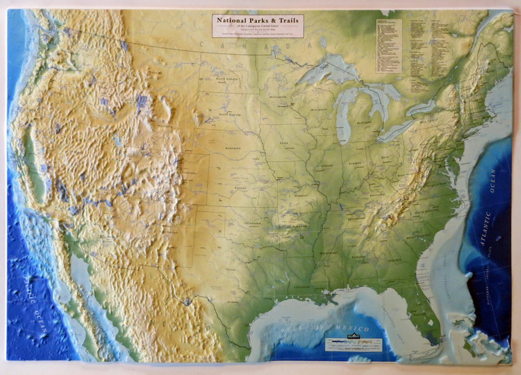 United States National Parks & Trails Raised Relief Map