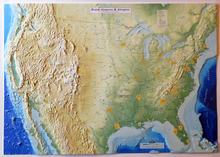 United States Airports & Airspace Raised Relief Map