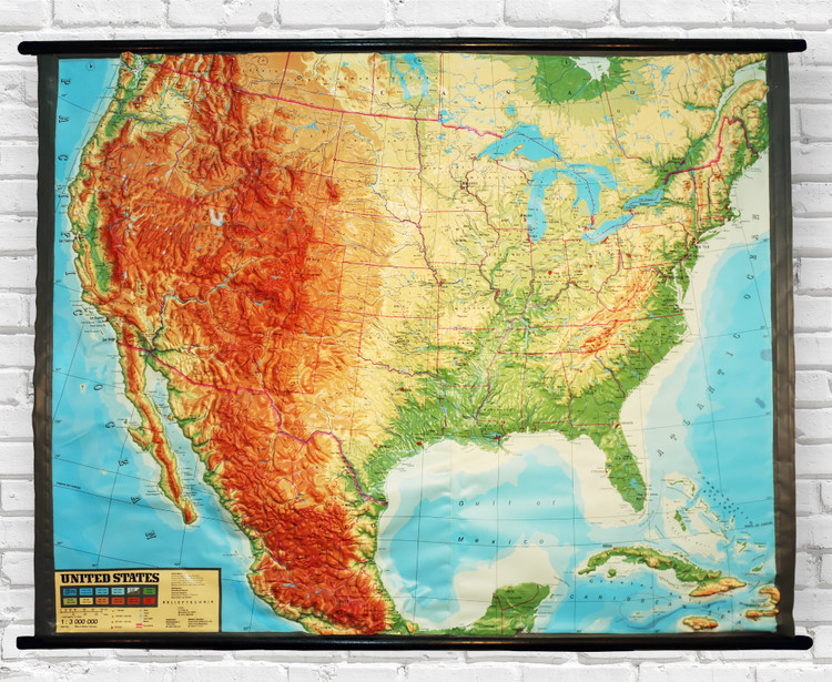 Contiguous U.S. Large Extreme Raised Relief Map - Flexible Vinyl Relief Map on Wood Rods