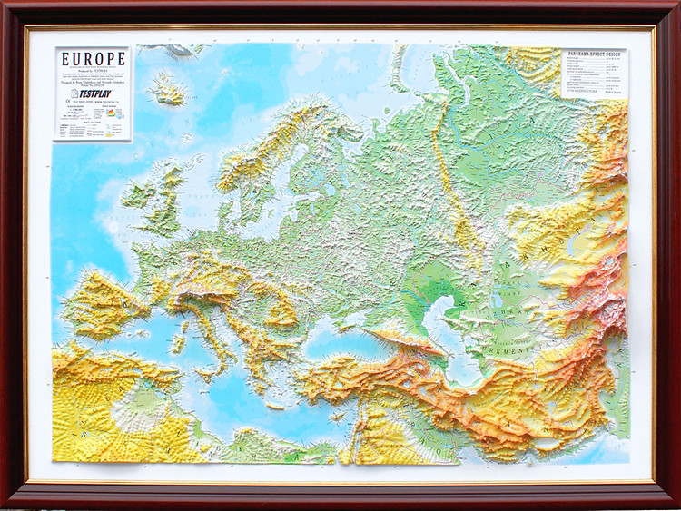 Raised Relief Map of Europe
