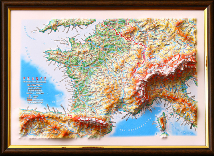 Raised Relief Map of France