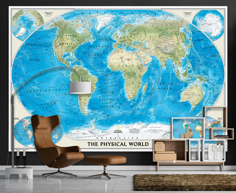 National Geographic World Physical Map Mural